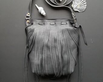Black deer skin  leather fringe bag