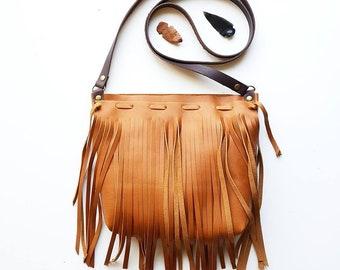 Cognac leather fringe bag