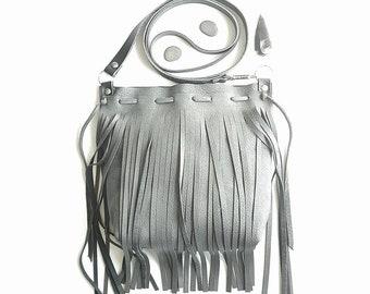 Grey leather fringe bag
