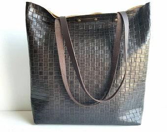 Embossed Chocolate Brown Leather Tote Bag // Shoulder bag