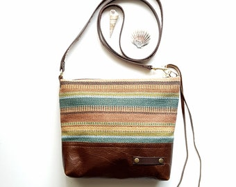 Woven Stripe and brown leather cross body bag