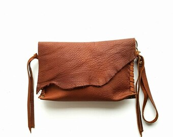 Rusty Brown Leather wristlet // leather wristlet