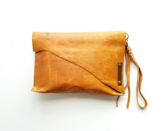 Honey Hide Gold Leather clutch with detachable wristlet