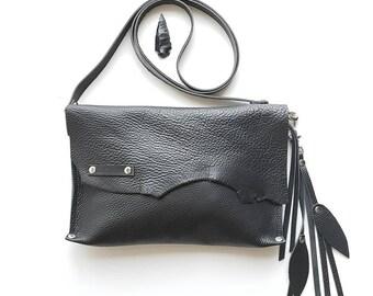 Black leather cross body bag // Raw edge leather bag