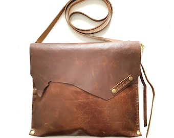 Distressed Chocolate Brown Leather Cross body bag