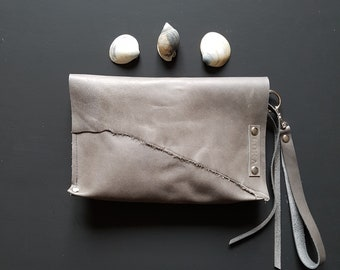 Grey leather wristlet
