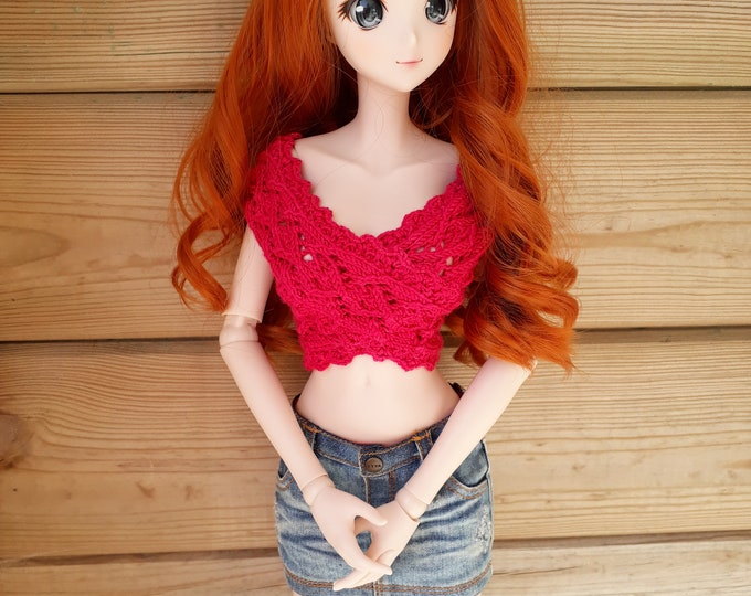 Featured listing image: 297. French and english knitting pattern PDF - Wrapover top for Smart Doll (busts S, M and L) and BJD SD