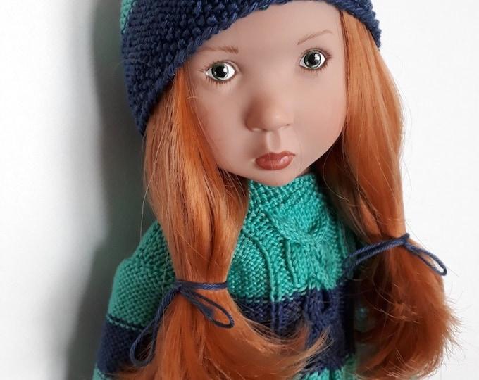 Featured listing image: 319. Moka irlandais Zwergnase M - French and english knitting pattern PDF -  Sweater and hat for doll Zwergnase M (50 cm)