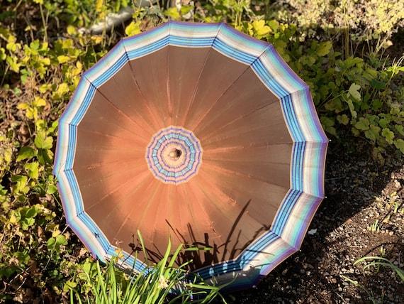 1920's 30's Plaid Silk Rainbow Umbrella with Early