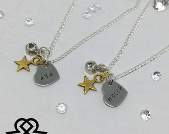 Heart handstamped personalised necklace with gemstone and star charm. Gold and silver, perfect gift!