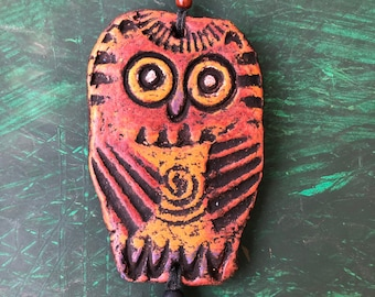 Owl Ornament - TOOTIE The Happy Little Yellow Owl - hanging clay bird ornament