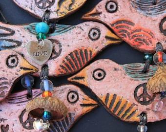 Bird Hanging Ornament - Peace Bird Ornament - white bird wall decor - dove ornament