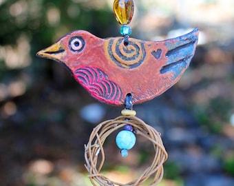 Happy Little Robin Ornament - bird ornament - hanging bird ornament - hanging clay bird