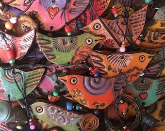 happy little bird - hanging clay bird ornament - handmade bird
