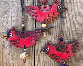 Cardinal Bird Ornament - happy little cardinal hanging decoration - happy little bird clay ornament