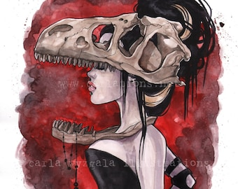 Lady of the Tyrannosaurus Rex Skull Mask Dinosaur Bone Watercolor Giclee Art Print Carla Wyzgala carlations