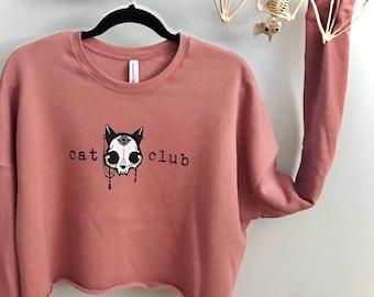 Carlations Cat Club Crop Sweatshirt