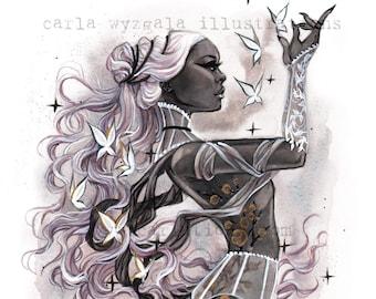 ZODIAC Virgo Burlesque Astrology Horoscope Pin up Watercolor Giclee Art Print Carla Wyzgala Carlations