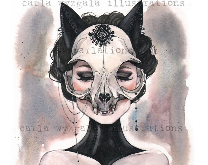 Lady of the Black Cat Skull Masquerade Dahlia Nyx Watercolor Giclee Art print by Carla Wyzgala Carlations