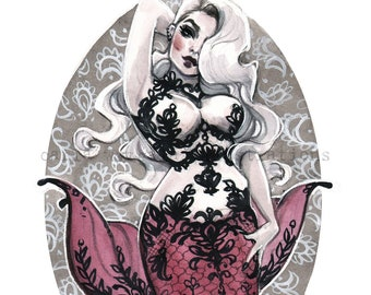 Goth Mermaid Curvy Boudoir Pin Up Girl Watercolor Giclee Art Print by Carla Wyzgala carlations