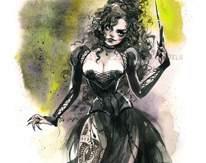 Dark Witch Spooky Gothic Pin Up Halloween inspired watercolor Giclee Art print Carla Wyzgala carlations