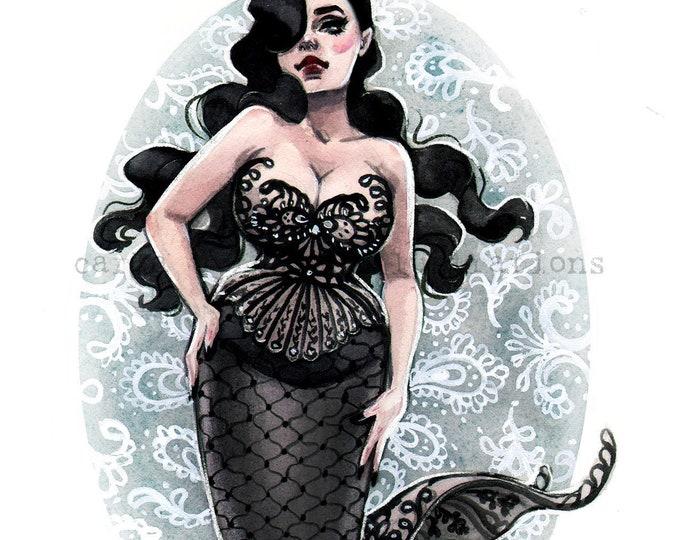 Curvy Goth Pin Up Girl Mermaid watercolor painting Giclee Art Print Carla Wyzgala carlations