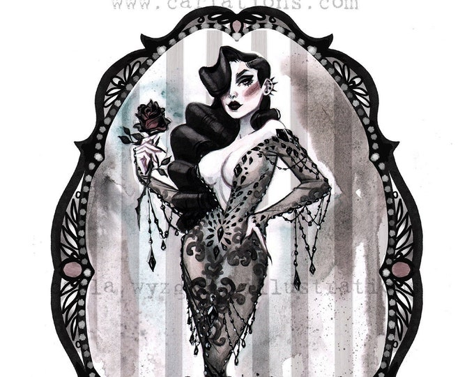 Morticia Addams Family Spooky Gothic Pin Up Halloween inspired watercolor Giclee Art print Carla Wyzgala carlations