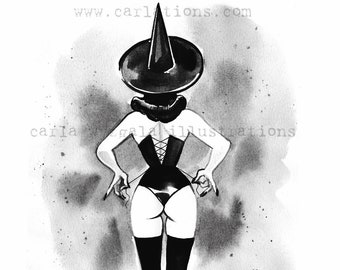 Burlesque Pin Up Witch and Cat Halloween Inktober watercolor Giclee Art Print Carla Wyzgala carlations