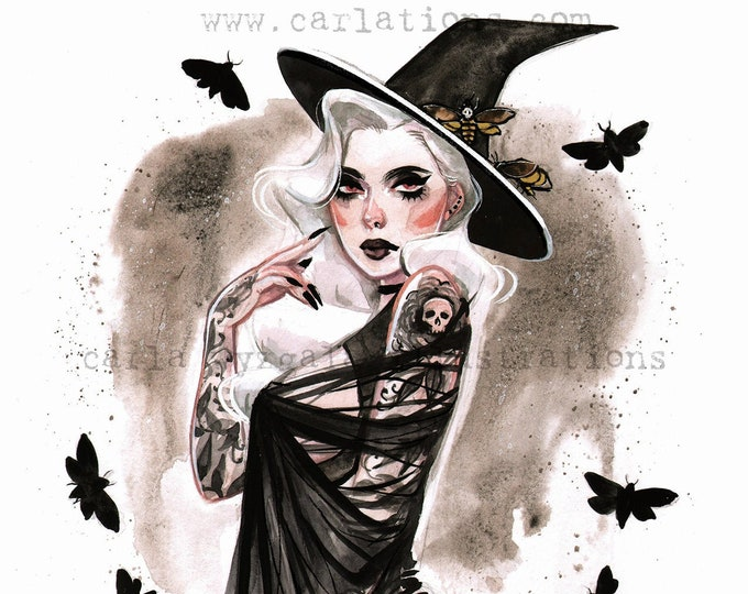Death Moth Witch Skull Spooky Halloween Pin Up watercolor Giclee Art Print Carla Wyzgala carlations