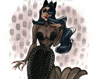Mermaid Pin Up Black pin up cat Burlesque Meowmaid watercolor Giclee Art Print Carla Wyzgala Carlations