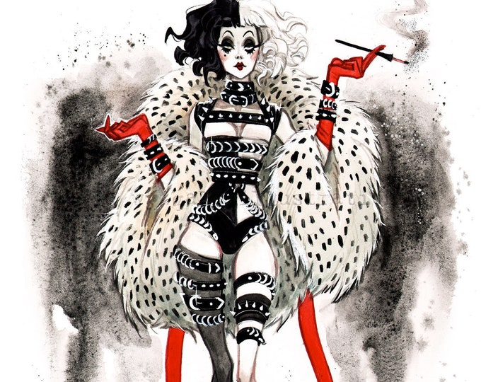 Cruella Fashion Diva Burlesque Boudoir Pin Up Watercolor Giclee Art print by Carla Wyzgala Carlations