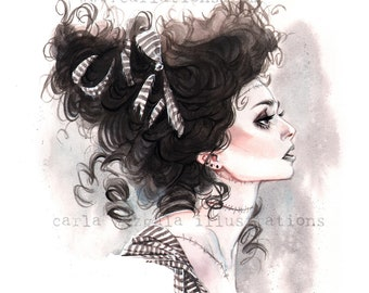Bride of Frankenstein Halloween pin up watercolor Giclee Art Print Carla Wyzgala carlations