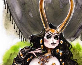 BOUDOIR Lady Loki Marvel Villains Norse Mythology Pin Up watercolor Giclee Art Print Carla Wyzgala Carlations
