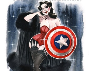 Agent Peggy Carter Captain America Marvel Vintage Pin Up watercolor Giclee Art Print Carla Wyzgala Carlations