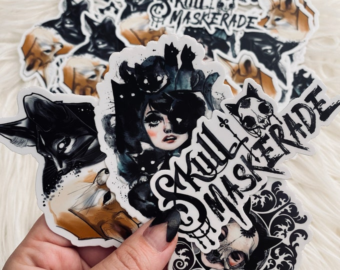 STICKER SET! Skull Maskerade comic cat skull die-cut sticker art Carlations Carla Wyzgala