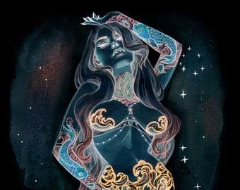 DARK GALAXY SDCC Holographic exclusive Burlesque Zodiac Watercolor Pin Up Art Print set of 12 Carla Wyzgala Carlations