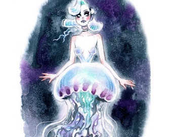 Mermaid Pin Up JellyFish Gothic watercolor Giclee Art Print Carla Wyzgala Carlations