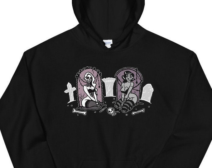 Spooky Burlesque Skeleton Zombie Halloween Hoodie pin up clothing by Carlations Carla Wyzgala