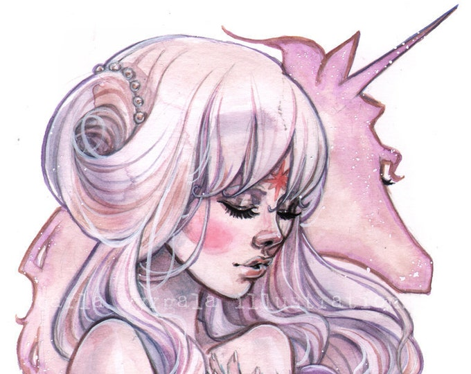 The Last Unicorn Princess Lady Amalthea 80's inspired Watercolor Art Print Carla Wyzgala Carlations