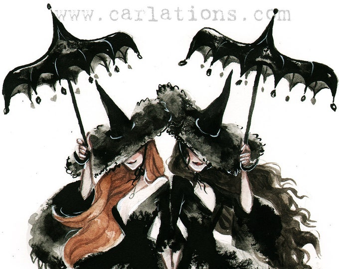 Good Witch Practical Magic Spooky Gothic Pin Up Halloween watercolor Giclee Art print Carla Wyzgala carlations