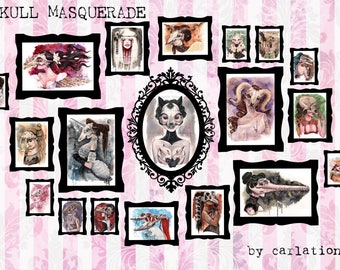 SIGNED COMPLETE SET Carlations Skull Masquerade watercolor 19 art print set by Carla Wyzgala
