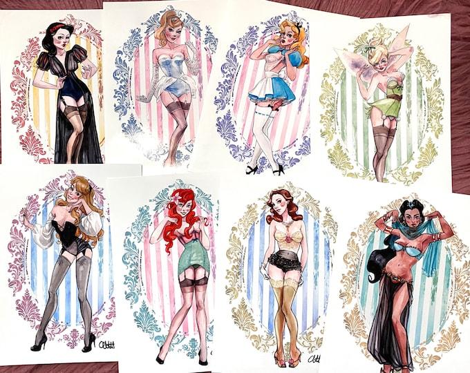 Boudoir Disney Princess SIGNED collection of 22 watercolor art prints Carlations Carla Wyzgala