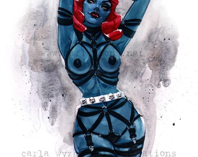 Vintage Burlesque Mystique Xmen Marvel watercolor pin up Giclee Art Print Carla Wyzgala carlations