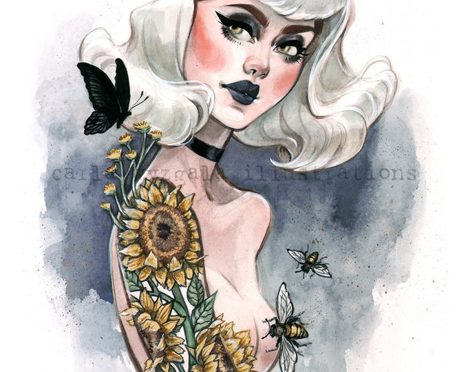 Sweet Bee Gothic Sunflower tattoo Burlesque Pin Up watercolor Giclee Art print by Carla Wyzgala Carlations