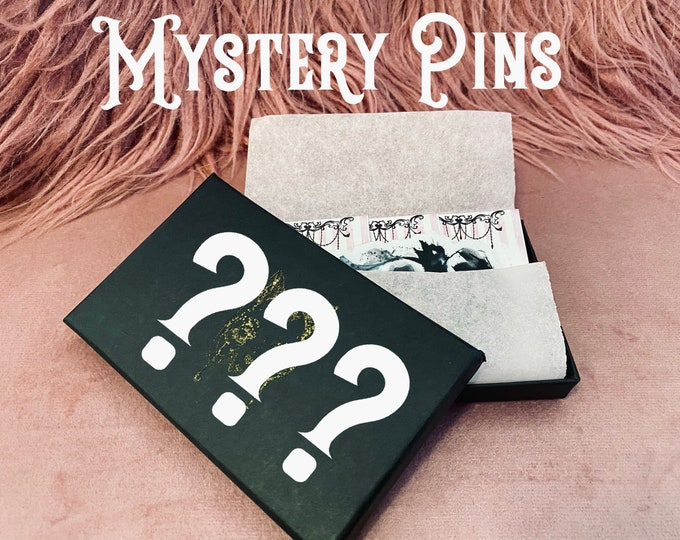 MYSTERY PINS Gift Box of Spooky Burlesque Pin-Up Enamel Pins by Carlations Carla Wyzgala