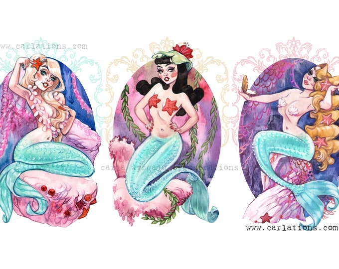Neverland Mermaid Lagoon pin up Peter Pan inspired watercolor art print set ONE Carlations Carla Wyzgala