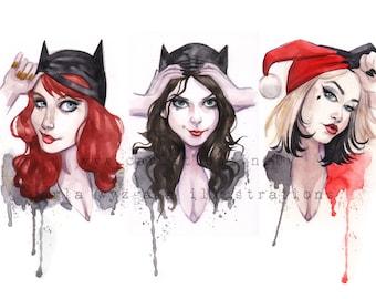 Mask Batgirl Batwoman Catwoman Harley Quinn Gotham DC Superheroes Pin up Girl Watercolor Giclee Art Print Carla Wyzgala carlations