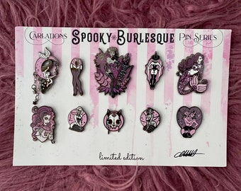 LIMITED EDITION Enamel Pin Set of 10 Carlations Spooky Burlesque Enamel Pin series