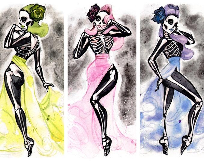 Diva De Los Muertos Day of the Dead Sugar Skull pin ups art print set watercolor Carlations Carla Wyzgala
