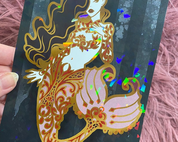 LIMITED EDITION HOLOGRAPHIC Goth Mermaid Art Print Carlations Carla Wyzgala Spooky Burlesque